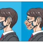 メカの搭載されたウレタン風マスクをつけたビジネスマンの青年のイラスト